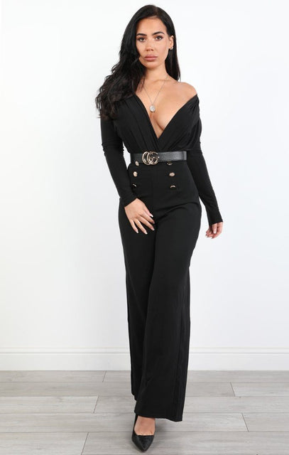 Black Slim Fit Plunge Bodysuit - Maisy