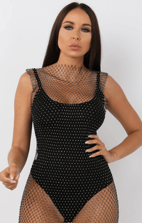 Black Diamante Mini Dress - Poppy