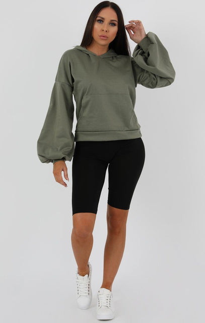 Khaki Flare Cuff Sleeve Hooded Jumper - Tracey