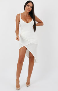 White Front Wrap Singed Waist Midi Dress - Lucia