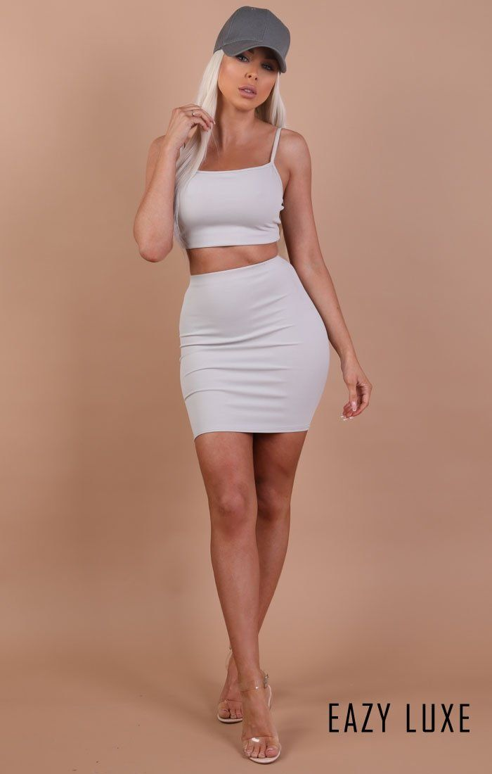Grey Bodycon Mini High Waist Skirt - Mimi