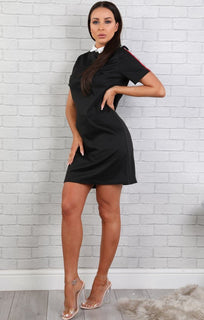 Black Collar T-shirt Dress- Delilah