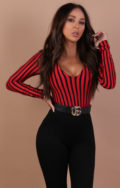 Red Stripe Long Sleeve Bodysuit – Taylor