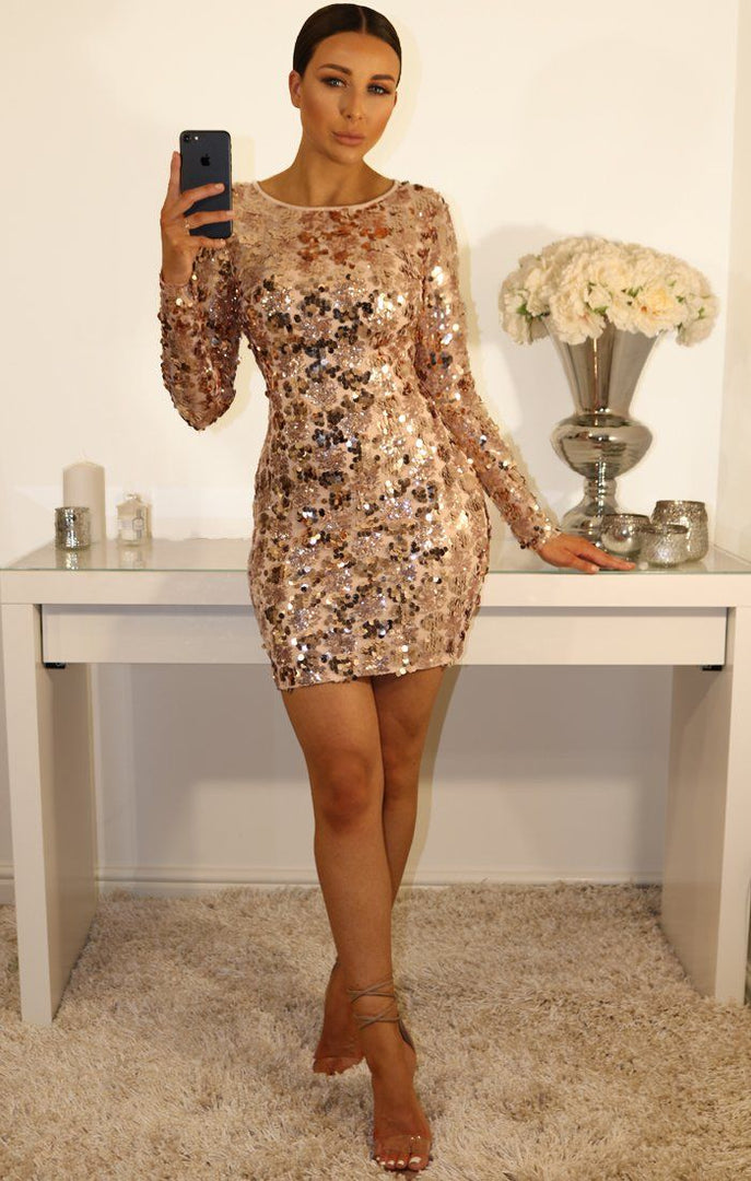 Rose Gold Sequin With Lace Up Back Dress