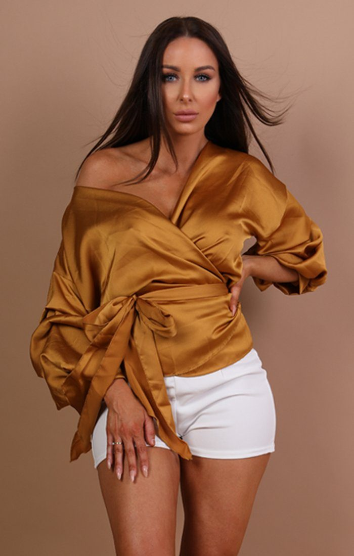 Mustard Satin Ruched Sleeves Wrap Top – Mia