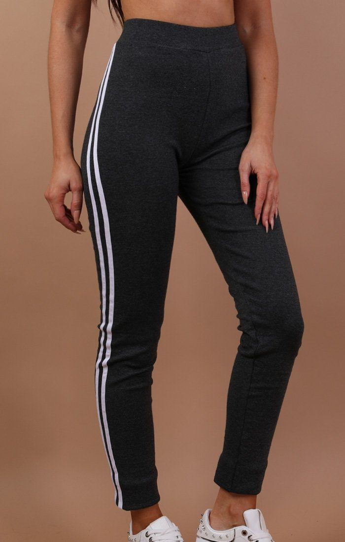 Charcoal With White Stripe Detail Trousers