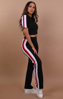 Black with Red and White Stripe Loungewear Set
