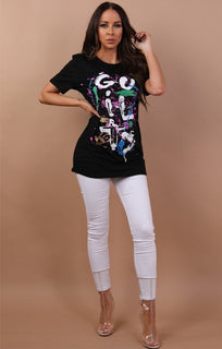 Black Guilty Abstract Printed T-shirt - Becky