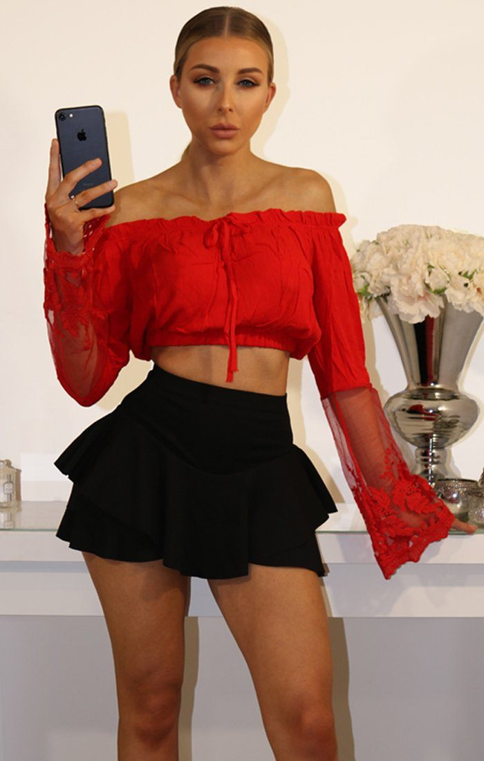 Red Bardot Crop Top With Lace Bell Sleeves
