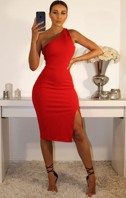 Red One Shoulder Midi Dress