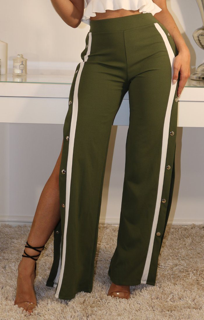 Khaki White Striped Trousers With Popper