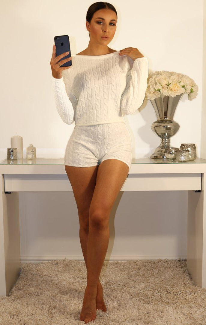 Cream Cable Knit Loungewear Set