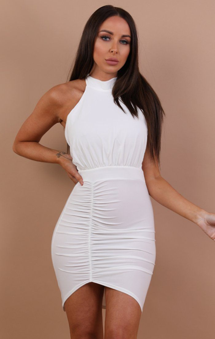 White Ruched Lace Up Bodycon Dress - Mia