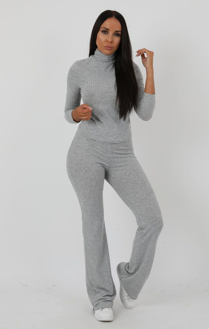 Grey Ribbed High Neck Flare Loungewear Set - Esmerelda Loungewear FemmeLuxe