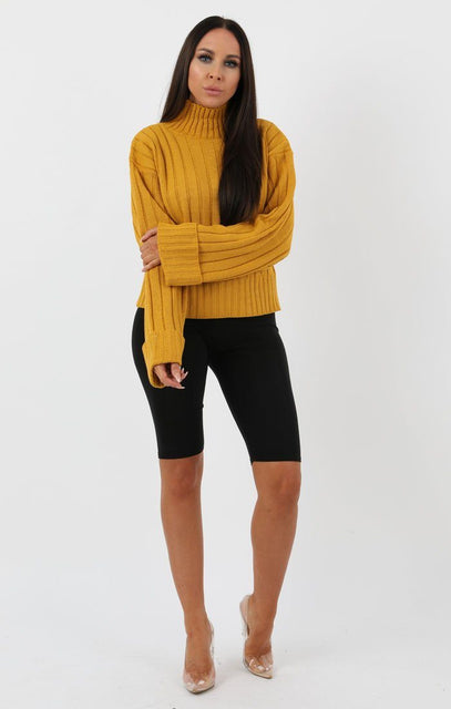 Mustard Ribbed Knit Oversized High Neck Jumper - Elisha