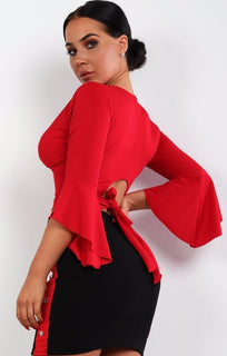 Red Plunge Bell Sleeve Crop Top