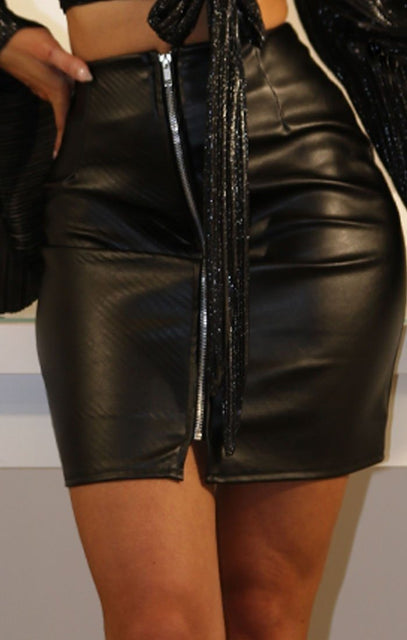 Black Faux Leather Zip Front High Waist Skirt