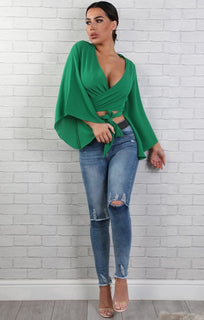 Green Front Wrap Tie Crop Top - Belle