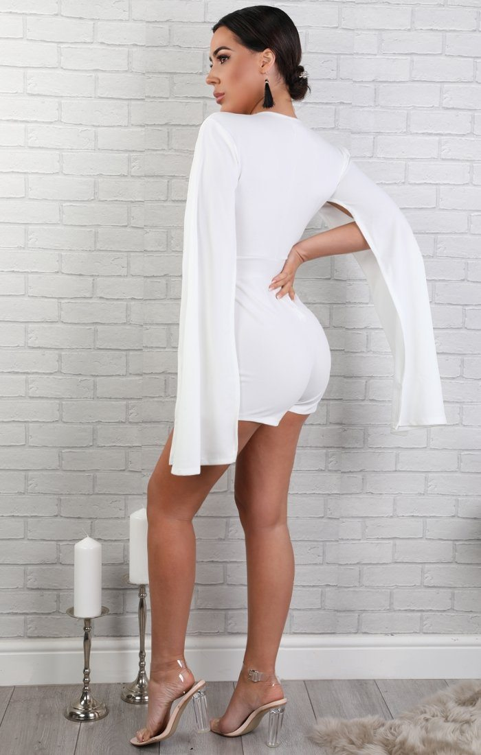 White Open Sleeve Playsuit - Bronte