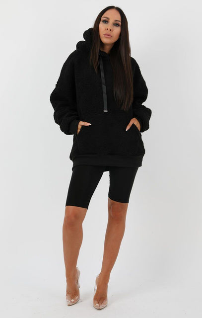 Black Teddy Hooded Jumper - Scarlett