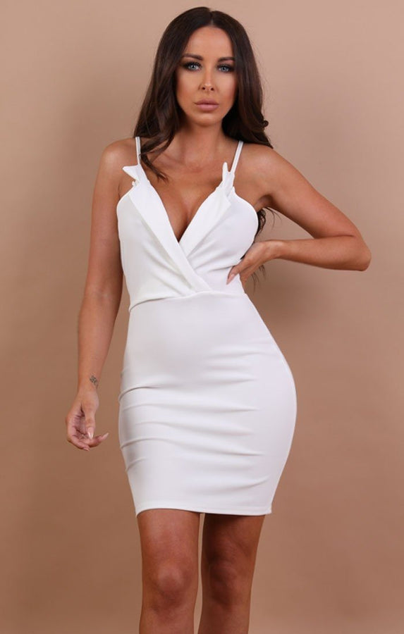 White collared bodycon mini dress - nina