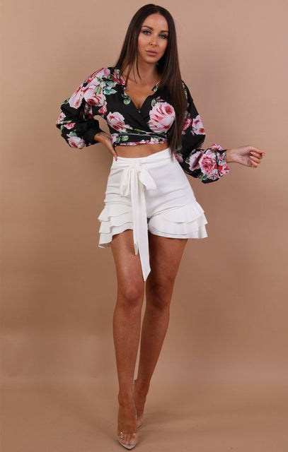 Black Ruched Sleeve Floral Wrap Crop Top - Addie