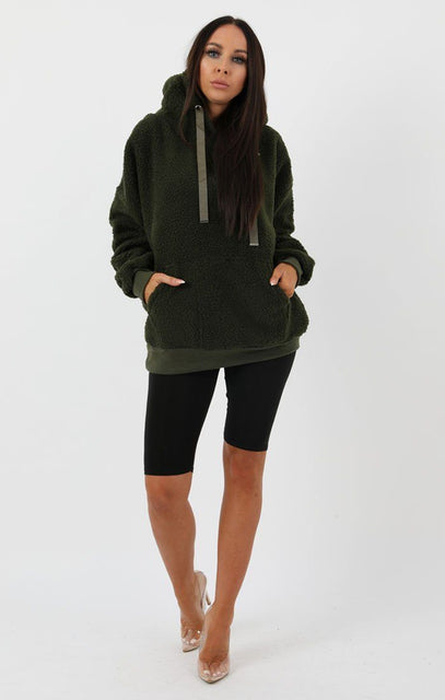Khaki Teddy Hooded Jumper - Scarlett