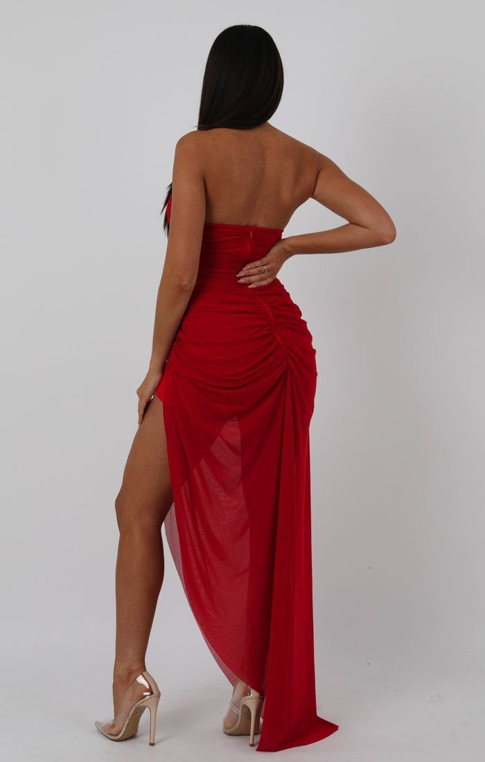 Red Bandeau Split Leg Ruched Maxi Dress - Tanya