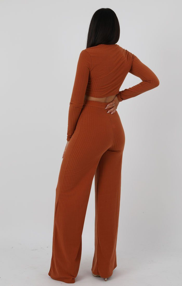 Rust Knot Crop Ribbed Flare Loungewear Set - Jacie