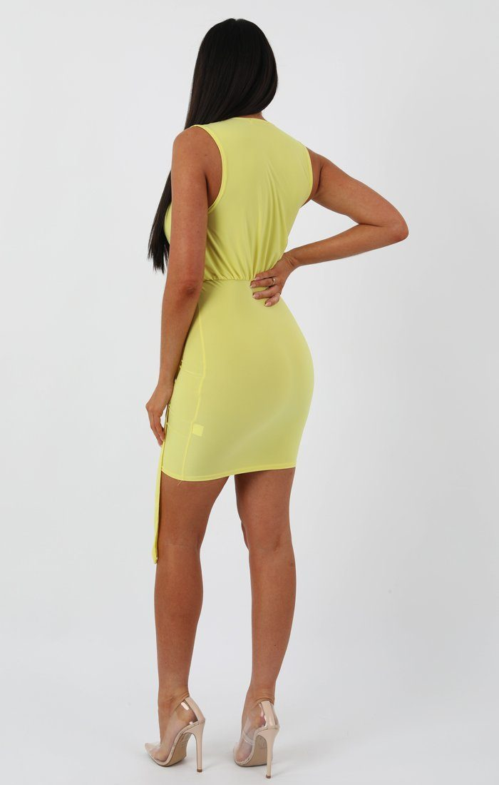 Lime Slinky Scoop Neck Drape Bodycon Dress - Paloma