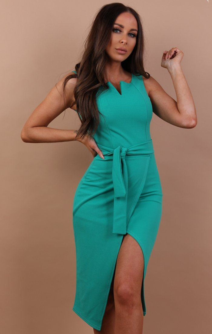 Green Sleeveless Split Midi Dress - Madelyn