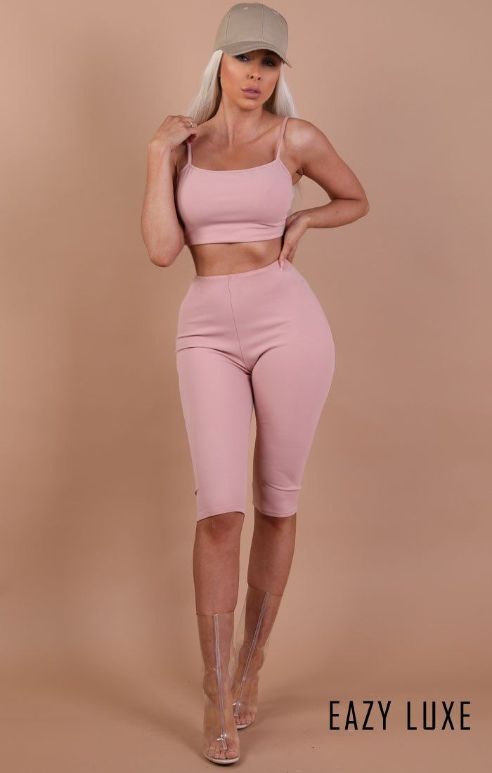 Dusky Pink Cami Basic Crop Top