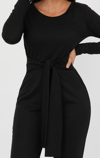 Black Long Sleeve Flare Jumpsuit - Hariette