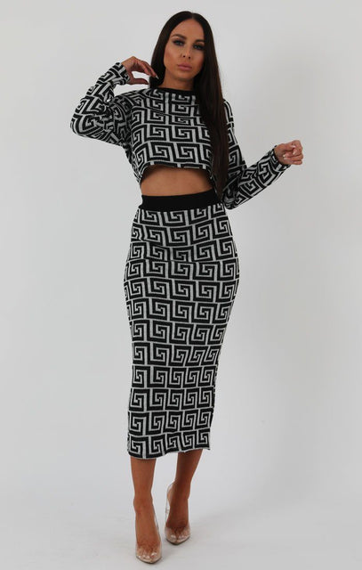 Grey Black Patterned Knit Co-ord Set - Freya