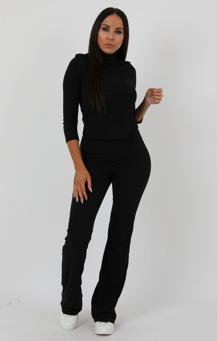 Black Ribbed High Neck Flare Loungewear Set - Esmerelda Loungewear FemmeLuxe