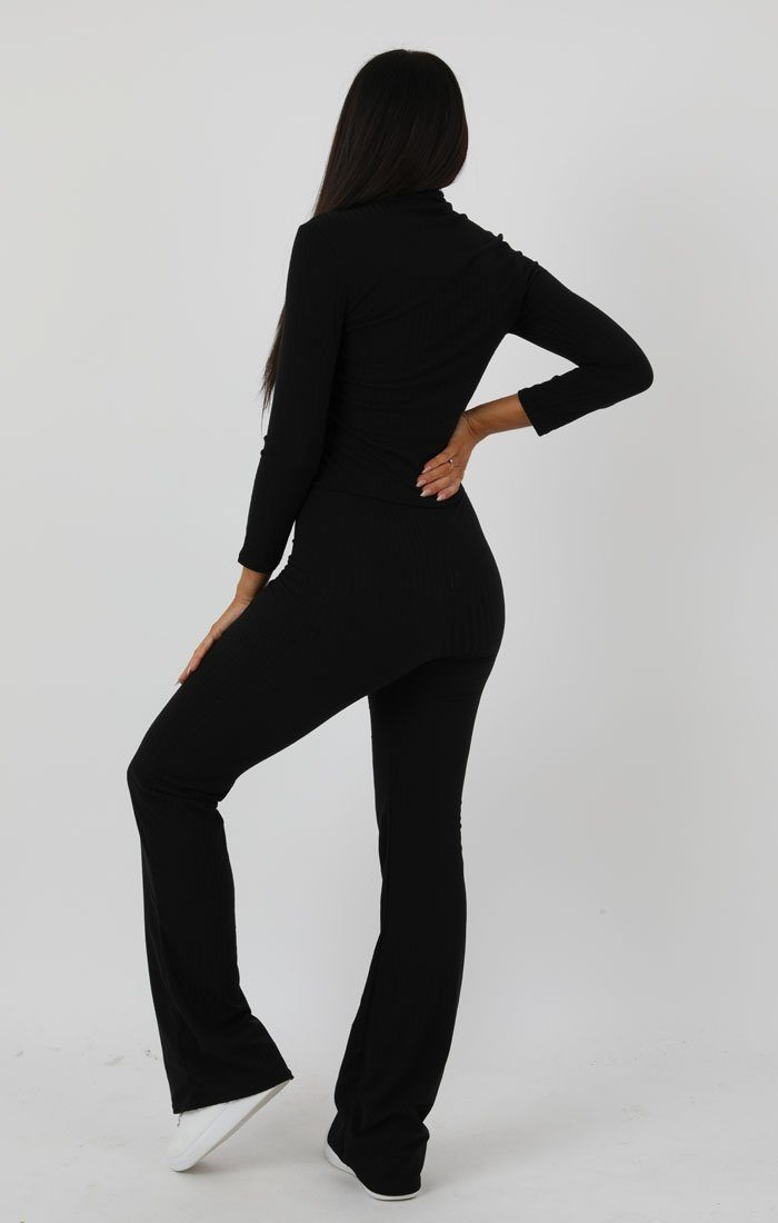 Black Ribbed High Neck Flare Loungewear Set - Esmerelda