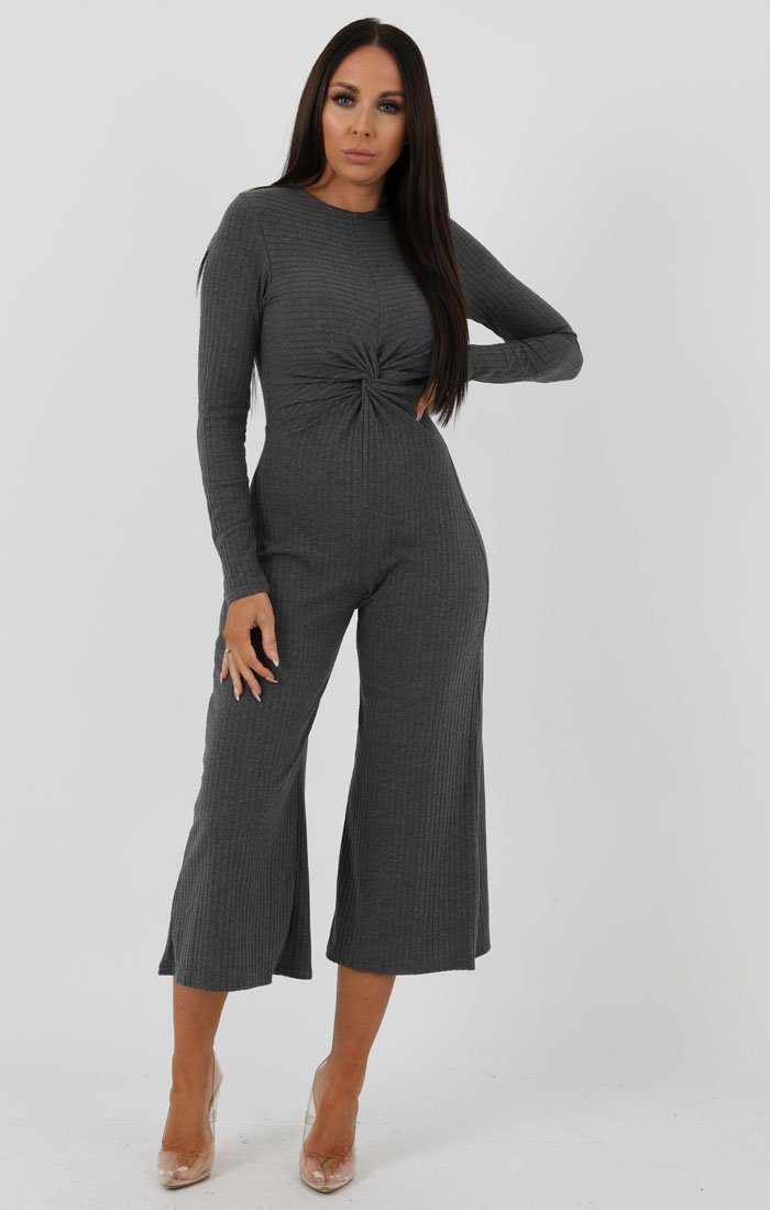 Grey Front Twist Culotte Ribbed Jumpsuit - Fiona