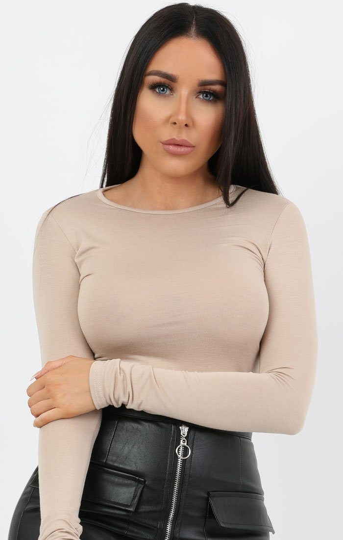 Stone Round Neck Long Sleeve Fitted Tee - Daisy