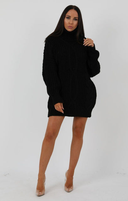 Black Chunky Cable Knit Turtleneck Jumper Dress - Heidi