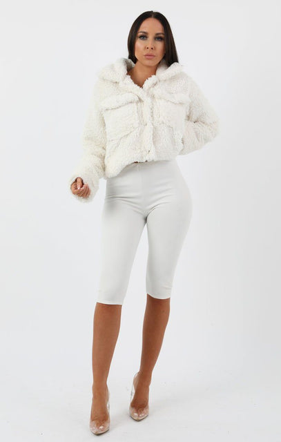 Cream Pocket Detail Crop Teddy Jacket - Olivia
