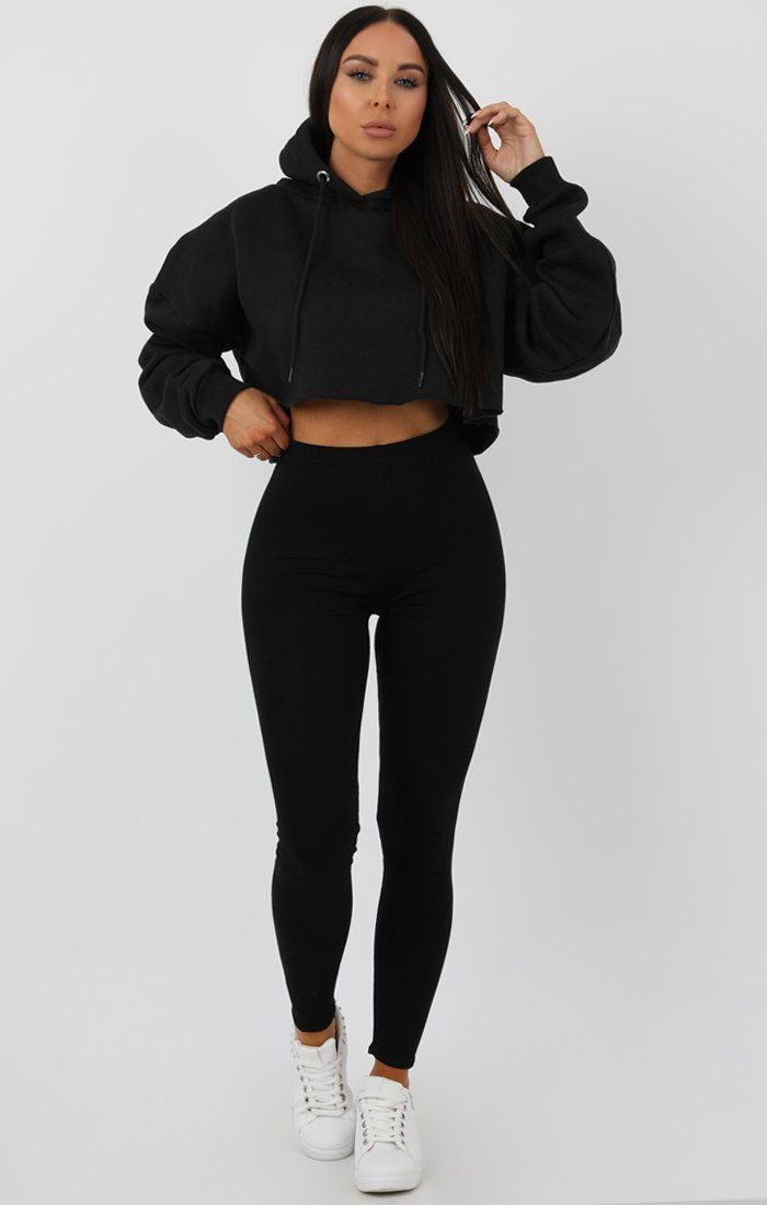 Black Hooded Crop Sweater Jumper - Gia Jumpers FemmeLuxe
