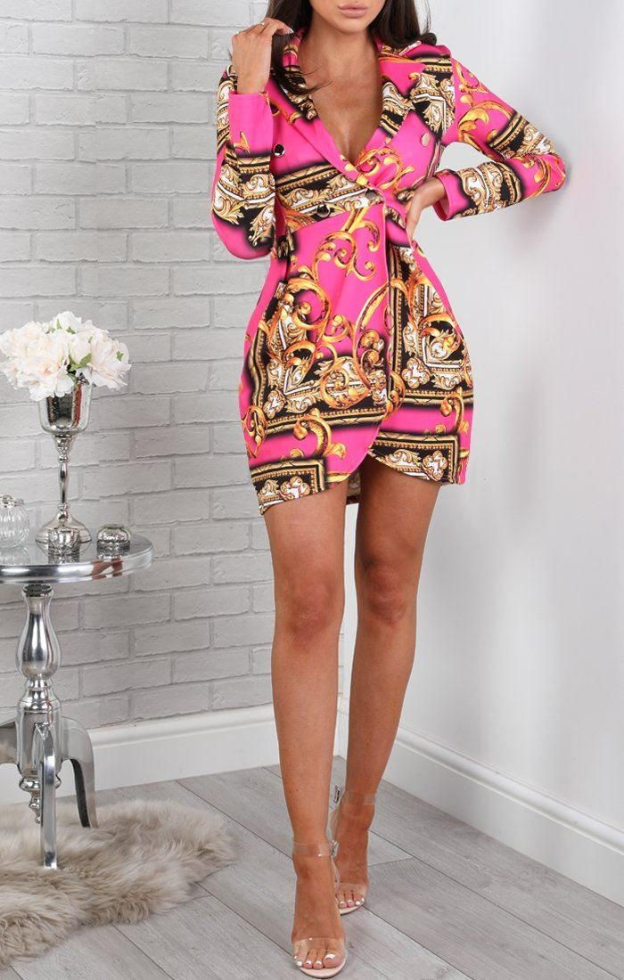Pink-Scarf-Print-Blazer-Dress