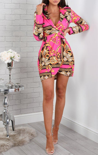 Pink Scarf Print Blazer Dress