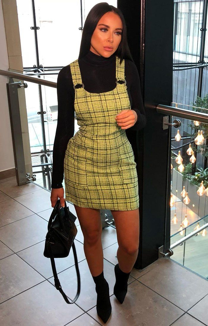 Lime Tweed Ring Front Pinafore Dress - Grande