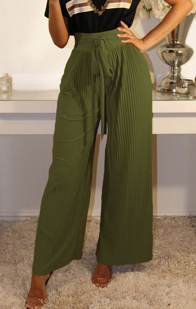 Khaki Pleated Wide Leg Trousers