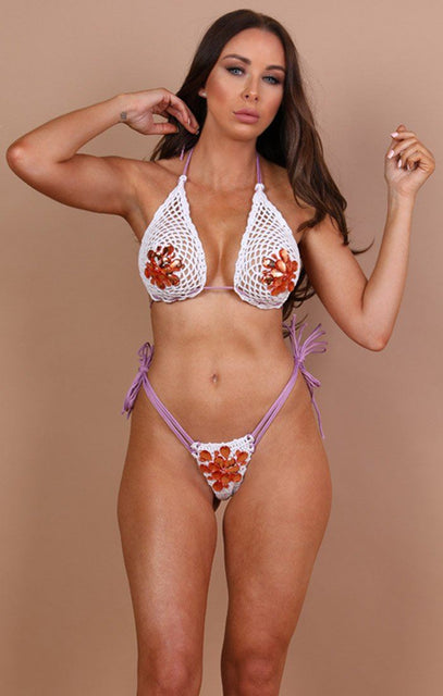 White And Purple Crochet Bikini Bottoms - Selena