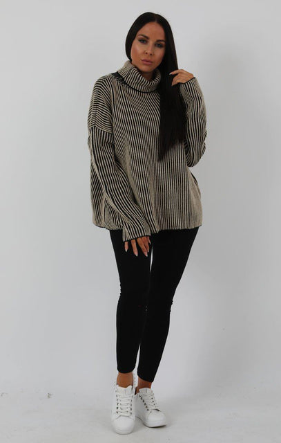 Stone Black Ribbed Turtleneck Jumper - Charlotte