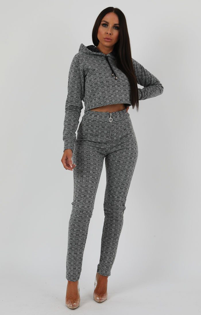 Grey Black Crop Zip Loungewear Set - Sonia