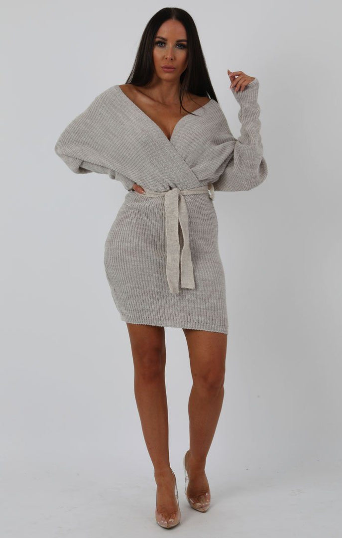 Stone-Knit-Long-Sleeve-Tie-Front-Wrap-Dress-Star