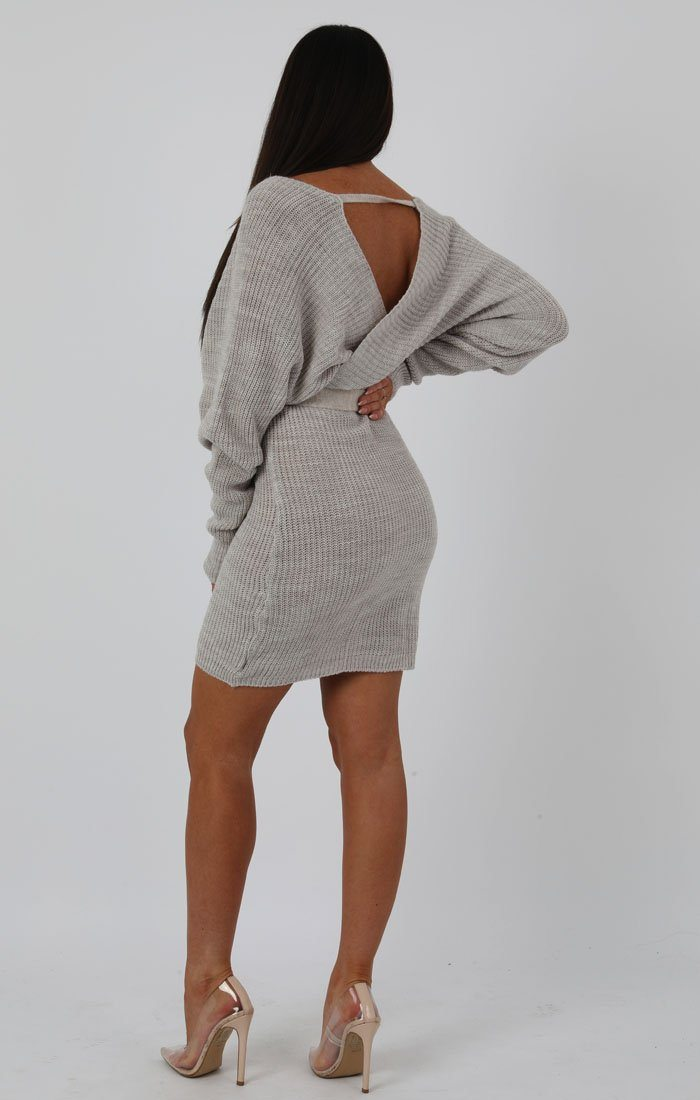 Stone Knit Long Sleeve Tie Front Wrap Dress - Star